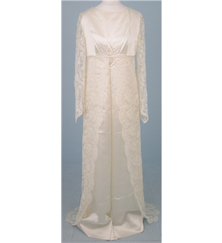 Hand made size s cream satin and scalloped edge lace for Oxfam wedding dress shop