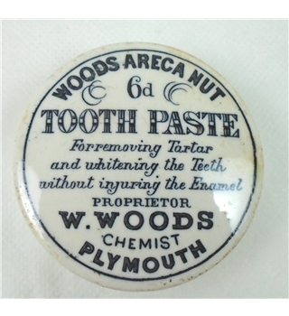 Woods Areca Nut Tooth Paste Pot Lid Early 1900s Oxfam