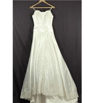 Ivory satin encrusted wedding dress see measurements for Oxfam wedding dress shop