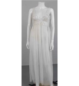 Unbranded size 10 sheer midi length beach wedding gown for Oxfam wedding dress shop