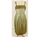 Sparkle & Shine Collection: Vintage 1950's 'Ladies Day' Size 8 Dress Featuring Olive Green Silk With Floral Embroidery