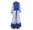 For the Love of Folk Collection: Vintage 1970's Jean Varon Size 16 Blue and White Floral Renaissance Style Maxi Dress