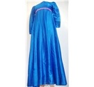 1970s Vintage Handmade Size S Full length Electric Blue Dress