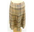 Skirts of the Harvest Collection: Vintage circa 1980s Size 12 Jaeger Peach and Blue Plaid Checked Pleated Midi Skirt