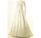 Size 12 Ivory Strapless Wedding Dress with Filigree Detailing at Empire Line
