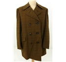 Vintage Circa 1960's Gieves Size L Olive Green Double Breasted Overcoat