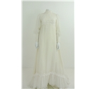 Vintage C. 1970's Size 8 Stunning Ice White Handmade Empire Wedding Dress with Crochet Bodice and Cuffs