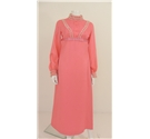 Vintage C. 1970's Size 12 Unbranded Flamingo Pink Midi Dress with Lace Ruffle Details