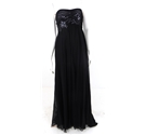 Alberto Makali Size 8 Black Sequin and Embroidery Embellished Strapless Full Length Gown