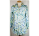 "Vintage Eros by Symington size 14 (36"" bust) white, blue and green shirt"