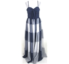 BNWT Vintage 70s Frank Usher size:M navy & white evening dress