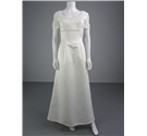 Lovely Feminine Full Length Ivory Size 10 Wedding Dress with Illusion Sleeves And Floral Detail