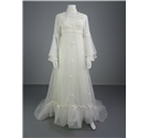 Classic 1970's Style High Neck Line Illusion Panel Size 12 Wedding Dress With Floral Detail