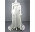 Charming Vintage 1970's White Size 12 Wedding Gown With Ivory Trim