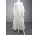 Stunning Handmade Vintage 1970's Ivory Wedding Dress With Croquet Detail and Full Length Sleeves.