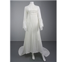 Vintage 1970's Beautiful High Neck Size 10 Ivory Wedding Gown With Ornate Trim