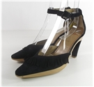 Charles Jourdan Size 7 Black Suede Fringed Court Shoe With Pointed Toe