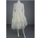 Vintage 50's Beautiful Ivory Size 10 Wedding Dress With Floral Velvet Mesh Overlay