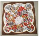 Vintage Fiorio for Asprey Silk Square - Floral Pattern with Brown Border
