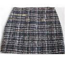 Zara Woman size S blue, white and red check wool mix boucle zip detail miniskirt