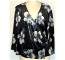 Roman Originals size L metallic grey with cream and navy flowers blouse