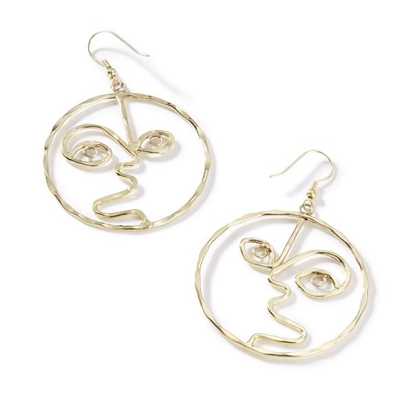 Brass Face Earrings