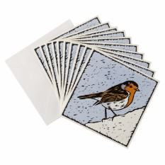 Block Print Robin Christmas card (10 pack)
