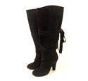 Marc Jacobs Size EU 37 (UK 4) Midnight Black Suede Wrap Around Pull On Heeled Thigh Boots