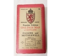 vintage Ordnance Survey Popular Edition One Inch Map of FALKIRK & MOTHERWELL cloth map Sheet 73