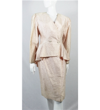 The Powerhouse Woman Collection: Vintage Circa 80's Christina Stauwbolieu Size S Oyster Pink Full Silk Jacquard Skirt Suit