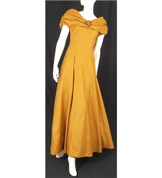 Vintage Circa 1960's Margaret Lee Size 6 Bronze Full Length A-line Bridesmaids Dress with Roses