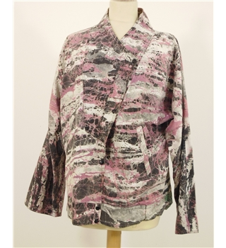 Vintage 1980s 'Glastonbury Rock Chick' Jacket Size 16 Featuring Iconic 80s Marble Print