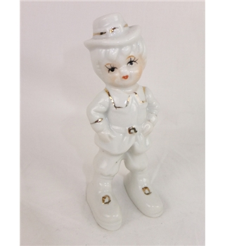 White with Gold Trim Porcelain Child Figurine