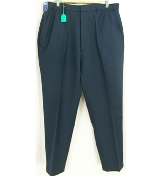 "Chums, waist 38"", navy blue trousers"