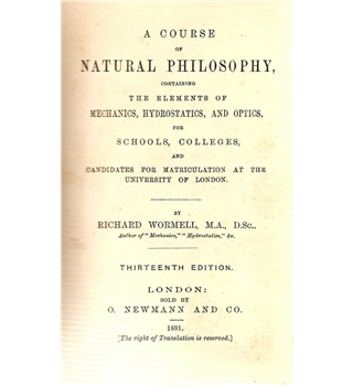 A Course of Natural Philosophy