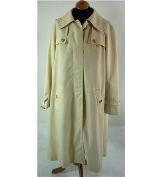 "Vintage Aquascutum Size: 16 (37"" bust, 3/4 length, A-Line) Desert Cream Stylish / Classic Polyester & Wool Blend Trench Coat"