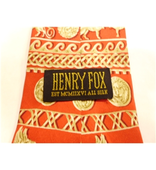 Henry Fox Silk Tie  Red With Roman Empire Design
