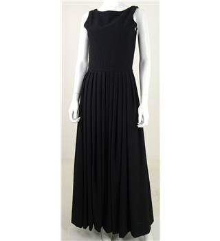 The Enchanting Ebony Collection: Vintage Handmade 1970's Size 8 Stunning High Quality Long Black Wool Jacquard Formal Dress.