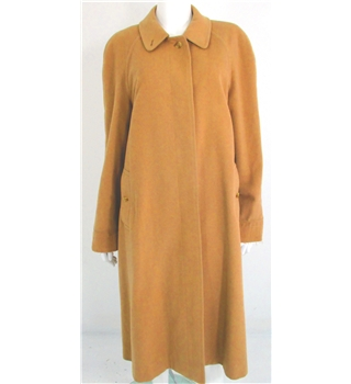Vintage 1980's Burberry's Autumn Crush Collection Size 18 Camel Brown Cashmere Long Coat