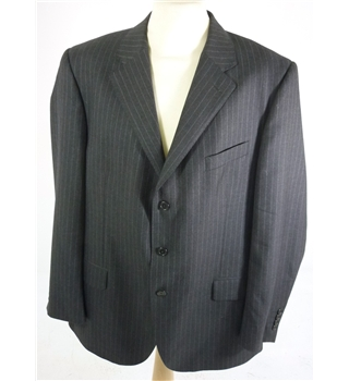 "Aquascutum Size: Jacket, 46"" chest, Trousers 44"" w Mid Black & Grey Pinstripe Stylish Wool Single Breasted Designer Suit Jacket"
