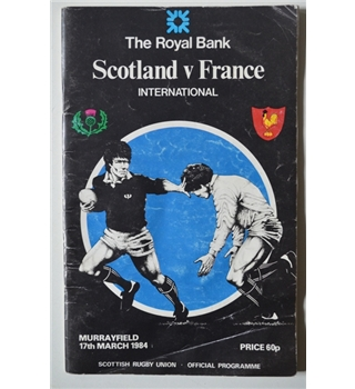 Scotland v France Programme - Grand Slam Year 1984