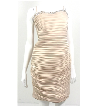 Tessy Strapless Nude Bodycon Thin Pleated Dress with Embroidered Sweetheart Neckline and Spaghetti Straps