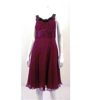 Monsoon Size 10 Womens Plum Evening Dress With Black Sequin Detailing Around the Neckline