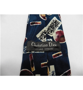 Christian Dior Silk Tie  Blue With Claret & Cream Abstract Design