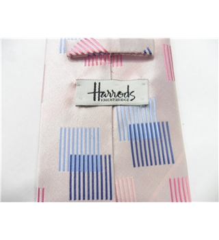 Harrods Baby Pink and Blue Pattered Silk Tie