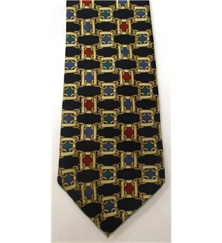 Jonelle Navy Blue and Cherry Red Silk Tie With Chain Link Design