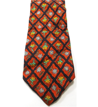 Jonelle Red, Navy Blue Silk Tie with Flower Design