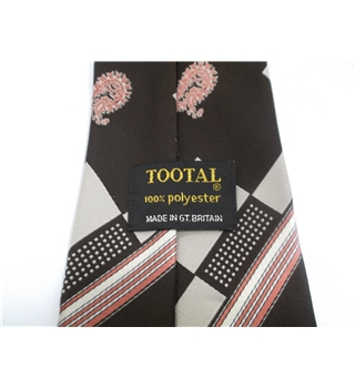 Tootal Designer Tie Chocolate Brown With Salmon Pink Paisley & Stripe Design