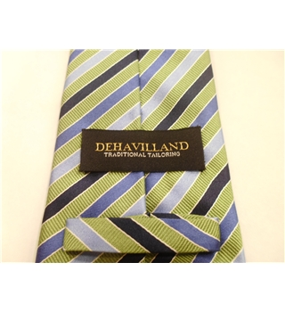 Dehavilland Silk Tie Navy , Light  Blue & Green Stripe Design