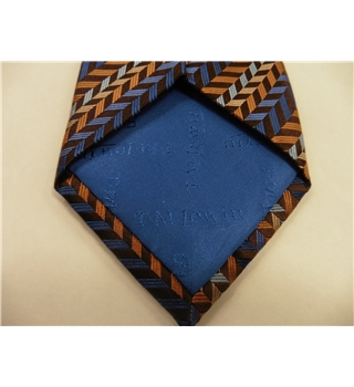 TM Lewin Silk Tie  Blue & Gold Herringbone Design